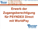 Tutorial PSYNDEX Direct Kauf via WorldPay